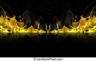brûler, fond, noir, reflet, jaune