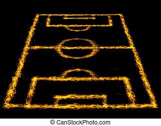 brûler, football, lignes, champ, perspective, champ, football, ou, vue