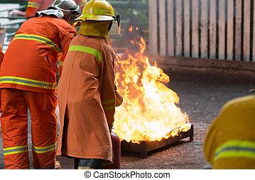brûler, formation, combattant
