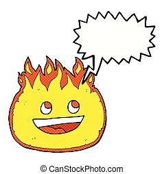 brûler, frontière, bulle discours, dessin animé