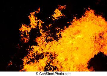 brûler, grand, flamme, fond