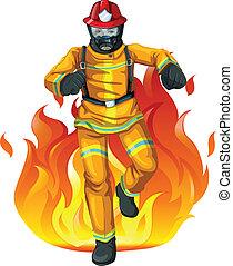 brûler, grand, pompier