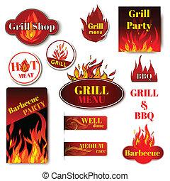 brûler, gril, étiquette