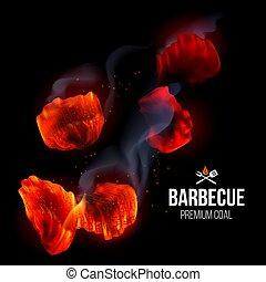 brûler, gril, barbecue