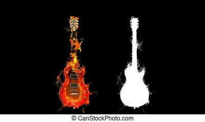 brûler, guitare, canal, alpha