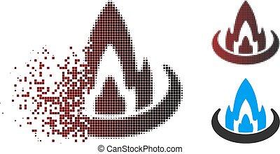brûler, halftone, dissous, emplacement, pixel, icône