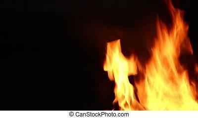 brûler, haut, -, côté, fin, droit, flammes