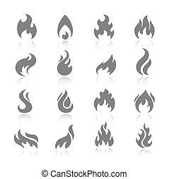 brûler, icône, ensemble