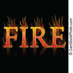 brûler, icône, flammes, fond, élément