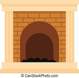 brûler, icône, style, cheminée, dessin animé