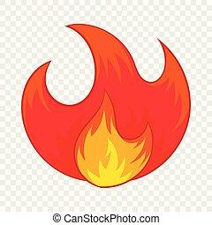 brûler, icône, style, dessin animé