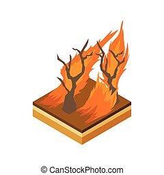 brûler, icône, style, forêt, dessin animé