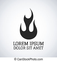 brûler, icône, vecteur, flammes, illustration