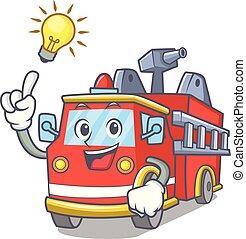 brûler, idée, camion, avoir, dessin animé, mascotte