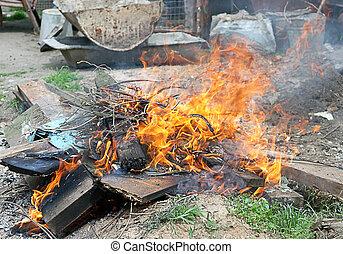 brûler, illégal, brulure, literie, flamme, toxique