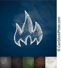 brûler, illustration, main, vecteur, dessiné, icon.