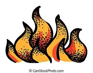 brûler, image, dessin animé, icône
