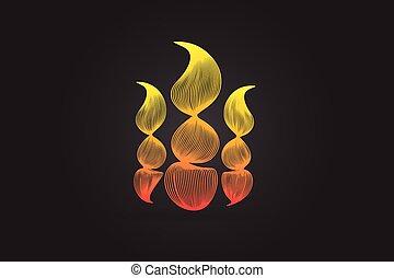 brûler, image, vecteur, flammes