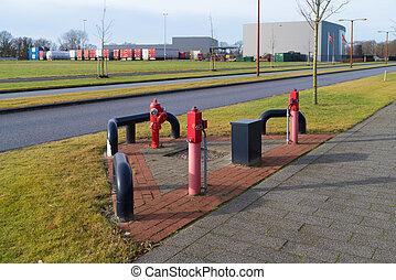 brûler, industriel, hydrants, secteur
