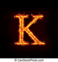 brûler, k, alphabets