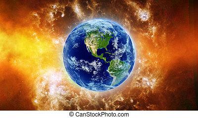 brûler, la terre, nébuleuse, espace