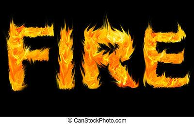 brûler, lettres, écrit, fait, mot