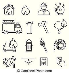brûler, ligne, ensemble, icône