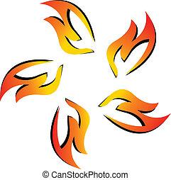 brûler, logo, équipe