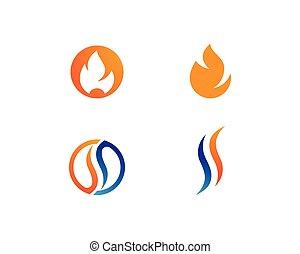 brûler, logo, flamme