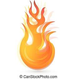 brûler, logo, flammes