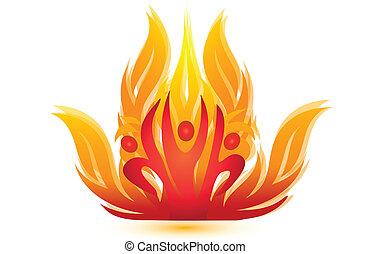 brûler, logo-rescue, gens, équipe