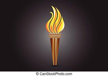 brûler, logo, torche, flammes