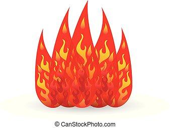 brûler, logo, vecteur