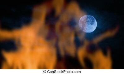 brûler, lune, nuit
