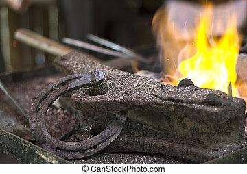 brûler, métal, endroit