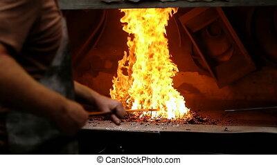 brûler, métal, forgeron, 4k, chauffage, tige