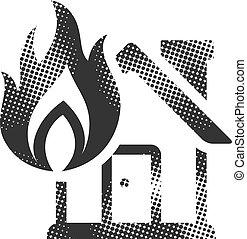 brûler, -, maison, halftone, icône