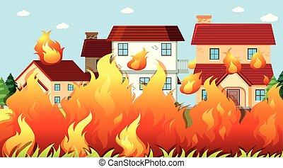 brûler, maisons, fond