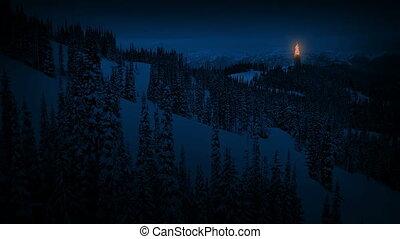 brûler, montagnes, balise, nuit
