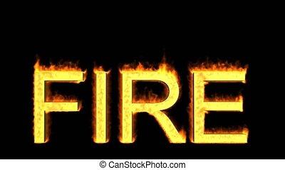 brûler, mot, flammes