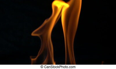 brûler, mouvement, lent, flammes