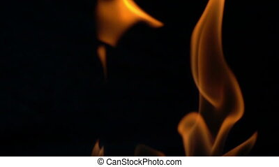brûler, mouvement, lent, noir, flammes