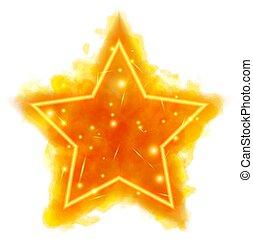 brûler, néon, compteur, étoile, aquarelle
