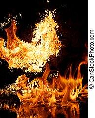 brûler, noir, explosion, isolé, fond