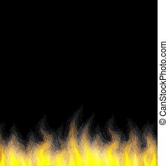 brûler, noir, flamme, fond, brûlé