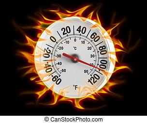 brûler, noir, thermomètre
