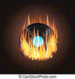 brûler, notes, enregistrement, vinyle, fond, musical