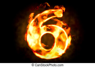 brûler, numéro 6, de, brûlé, flamme, lumière, 3d, rendre
