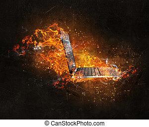 brûler, ordinateur portable, brûlé