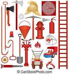 brûler, outils, équipement, accessori